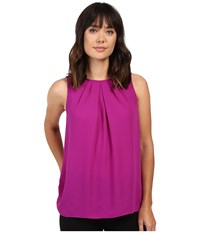 Ellen Tracy Gathered Neckline Shell Fuchsia Women's Clothing Pink