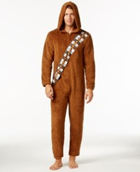 Briefly Stated Star Wars Men's Chewbacca Hooded Jumpsuit Pajamas From Brown