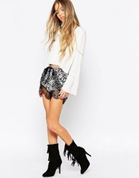 Daisy Street Shorts In Paisley Print With Lace Trim Black White