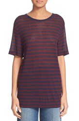 Women's T By Alexander Wang Stripe Rayon And Linen Tee Aubergine Navy