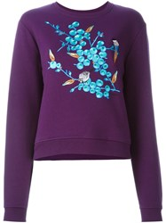 Carven Embroidered Sweatshirt Pink And Purple