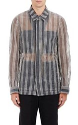 Ann Demeulemeester Organza And Striped Jacquard Blouson Black