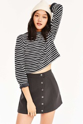 Bdg Snap Front Micro Mini Skirt Charcoal