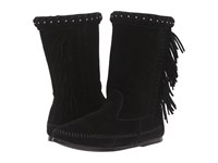 Minnetonka Luna Fringe Boot Black Suede Women's Pull On Boots