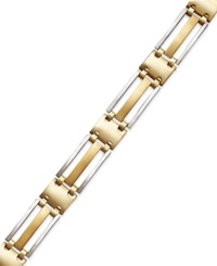 Macy's Men's Two Tone Bracelet In 14K Gold Yellow Gold