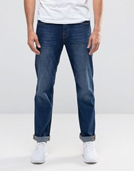 Selected Homme Dean Slim Fit Jeans In Mid Wash Dark Blue Denim