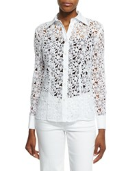 Escada Button Front Macrame Blouse White Women's