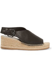 Rag And Bone Rag And Bone Sienna Leather Espadrille Wedge Sandals Black