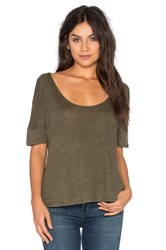 Heather Linen Scoop Neck Top Green