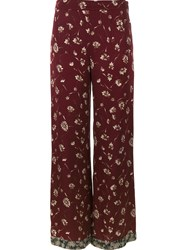 Etro Floral Print Palazzo Pants Red