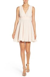 Tfnc Women's V Neck Fit And Flare Dress Nude