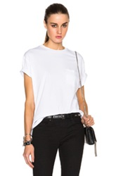 T By Alexander Wang Welded Cotton Jersey Pocket Tee In White