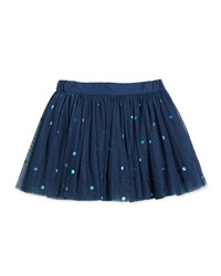 Stella Mccartney Tulle Polka Dot Skirt Sailor Blue