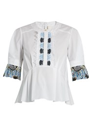 Peter Pilotto Macrame Lace Trimmed Cotton Top White
