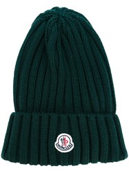 Moncler Ribbed Beanie Hat Green