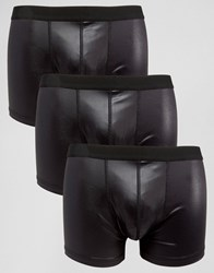 Asos Trunks In Wet Look Fabric 3 Pack Black