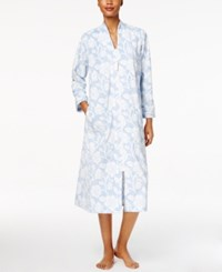 Charter Club Textured Super Soft Zip Front Long Robe Only At Macy's Foggy Blue