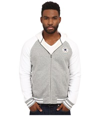 Converse Patch Hooded Baseball Jacket Gray Heather Men's Sweater