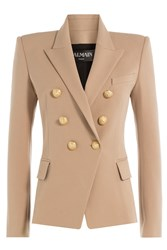 Balmain Cotton Blend Blazer With Embossed Buttons Beige