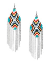 Design Lab Lord And Taylor Beaded Fringe Drop Earrings Multi