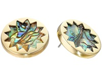 House Of Harlow Abalone Sunburst Stud Earrings Abalone Earring Beige