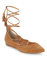 Sigerson Morrison Sunny Suede Lace Up Point Toe Flats Tan