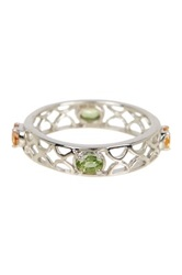 Olivia Leone Sterling Silver Green And Orange Sapphire Band