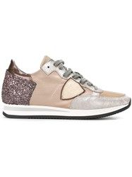 Philippe Model Glitter Panelled Sneakers Nude And Neutrals