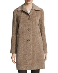 Sofia Cashmere Shirt Collar Fuzzy Button Front Coat Camel White
