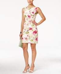Connected Tiered Floral Print Sheath Dress Pink Floral