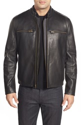 Cole Haan Lambskin Leather Jacket With Removable Vest Black