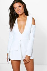 Boohoo Blazer Style Cut Out Shoulder Playsuit Ivory