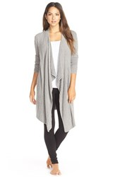 Women's Barefoot Dreams Cable Knit Drape Front Cardigan Pewter