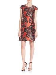 Josie Natori Cap Sleeve Floral Print Dress Orange Bronze