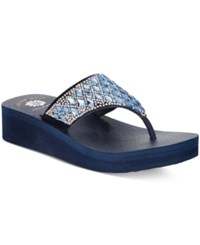 Yellow Box Pure Platform Wedge Flip Flops Women's Shoes Navy