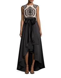 Betsy And Adam Lace Trimmed Hi Lo Gown Black Nude