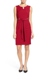 Ellen Tracy Women's Belted Sheath Dress Red
