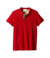 Burberry Pique Polo Little Kids Big Kids Military Red Men's Short Sleeve Button Up Tan