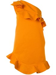 Msgm Short Ruffle Dress Yellow And Orange
