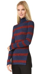 Cedric Charlier Turtleneck Sweater Blue Red