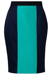 Roksanda Ilincic Norwood Pencil Skirt Navy Jade Dark Navy Blue