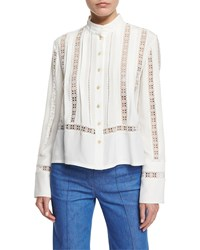Derek Lam Long Sleeve Open Stitch Silk Crepe Blouse White Size 26