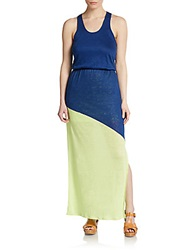 Candc California Two Tone Racerback Maxi Dress Blue Green