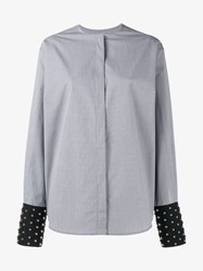 J.W.Anderson Check Shirt With Studded Cuffs Black White Silver Denim