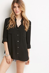 Forever 21 Classic Collared Shirt Black