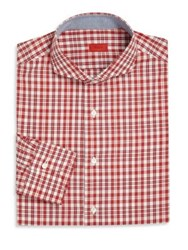 Isaia Plaid Long Sleeve Shirt Red