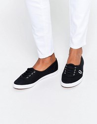 Fred Perry Aubrey Twill Black Plimsoll Trainers Black Dolphin