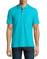 Penguin Contrast Tipped Merle Polo Shirt Scuba Blue