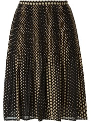 Michael Michael Kors Polka Dot Pleated Skirt Black