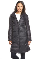 Eileen Fisher Stand Collar Down Puffer Jacket Black